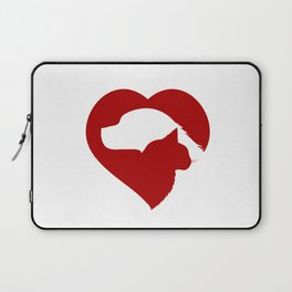 Pet Rescue Cat and Dog Red Heart of Love Laptop Sleeve