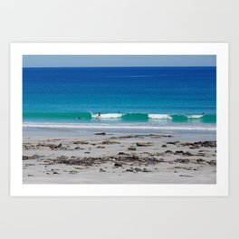 Surfing in Broome surrounded by vibrant ocean colours Art Print