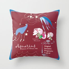Aquarius January Throw Pillow