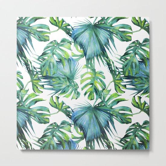 Blue Jungle Leaves, Monstera, Palm #society6 Metal Print