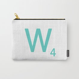Aqua Letter W Scrabble Wall Art Carry-All Pouch
