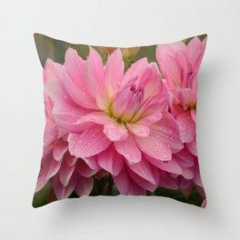Fresh Rain Drops - Pink Dahlia Throw Pillow