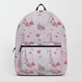 Pink Valentine Eiffel tower Girl and rose flower pattern Backpack