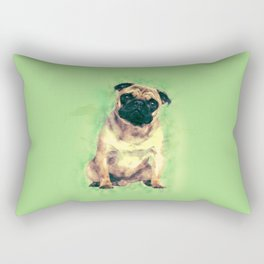 Cute Pug dog on gentle green Rectangular Pillow