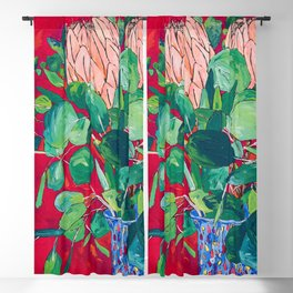 Two Proteas on Red, Pink, and Purple Floral Still Life with Fynbos Blackout Curtain