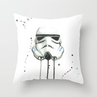 stormtrooper Throw Pillows featuring Stormtrooper by McCoy