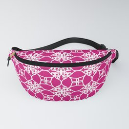 White arabesques and quatrefoils on Pink Fanny Pack