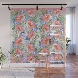 Hibiscus Aloha Stripe Wall Mural