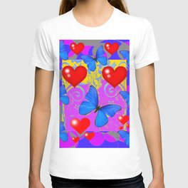 Red Hearts Valentines & Blue Butterflies Art Patterns T-shirt