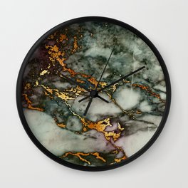 Gray Green Marble Glitter Gold Metallic Foil Style Wall Clock