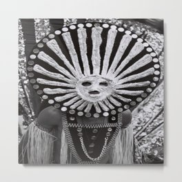 carnival mask costume street party dancer black and white photograph Metal Print