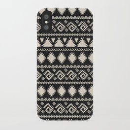 Vintage white black geometrical aztec tribal iPhone Case