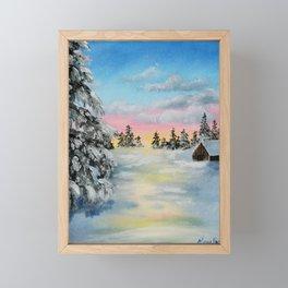 Winter Sunset Snow Scene Painting Framed Mini Art Print