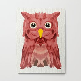 Whimsical Strawberry Owl Metal Print