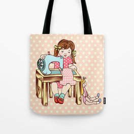 VINTAGE GIRL  AND A SEWING MACHINE Tote Bag
