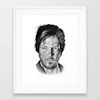 daryl Framed Art Prints featuring Daryl Dixon by 13 Styx