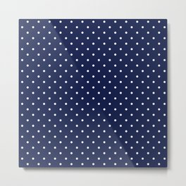 Small White Polka Dots On Navy Blue Background Metal Print