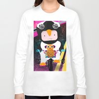 cycling Long Sleeve T-shirts featuring Cycling penguin by Adriana Moran