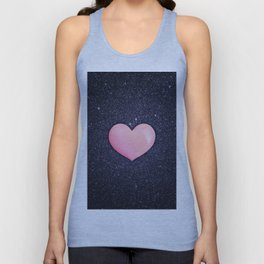 Pink heart on shiny black Unisex Tank Top