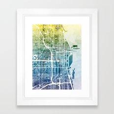 Chicago City Street Map Framed Art Print