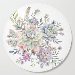 succulent watercolor 8 Cutting Board