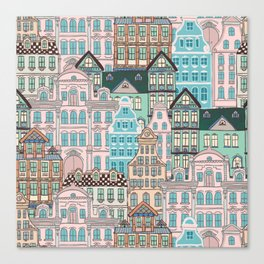 City Houses in Pastel Colours Canvas Print