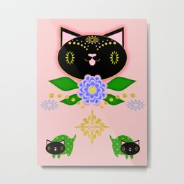 Black Kitten Symmetry on pink Metal Print