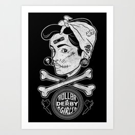 Zombie Roller Derby Girls Art Print