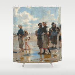 Setting Out to Fish Oil Painting by John Singer Sargent Shower Curtain