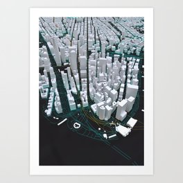3D New York Map Art Print