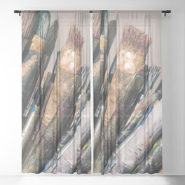 Picturesque Engaging Vintage Withered Paint Brushes Ultra HD Sheer Curtain