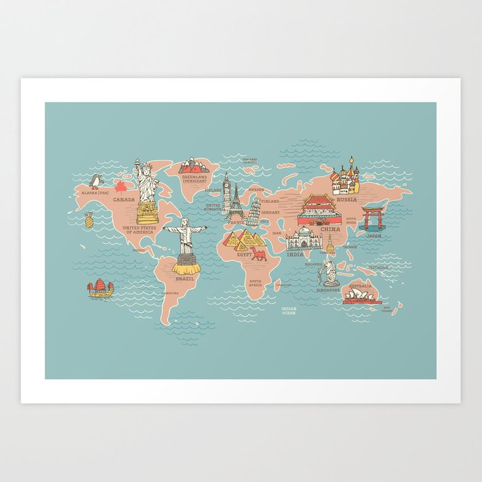 World map cartoon style art print by anukunhamala society6 world map cartoon style art print gumiabroncs Images