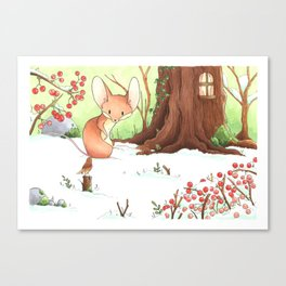 Mouse and bird Canvas Print