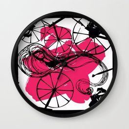 Briar Rose with Spinning Wheels Wall Clock