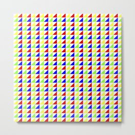 Mini Triangles Pattern Red Blue Green Yellow on White Metal Print