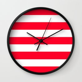 Ruddy - solid color - white stripes pattern Wall Clock