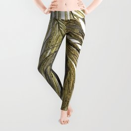 Gold and Silver Peacock Feathers Leggings