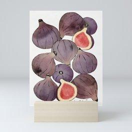 figs still life botanical watercolor Mini Art Print