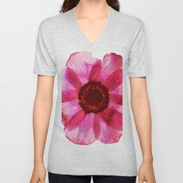 Fragile and beautiful - red anemone in white background Unisex V-Neck