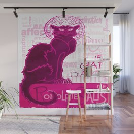 Le Chat D'Amour In Pink With Words of Love Vector Wall Mural