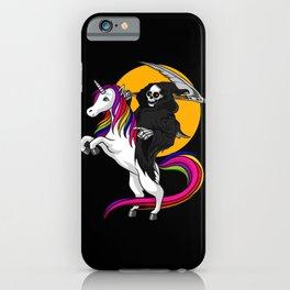 Grim Reaper Riding Unicorn Halloween iPhone Case