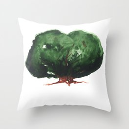 green Tree. watercolor picture Throw Pillow