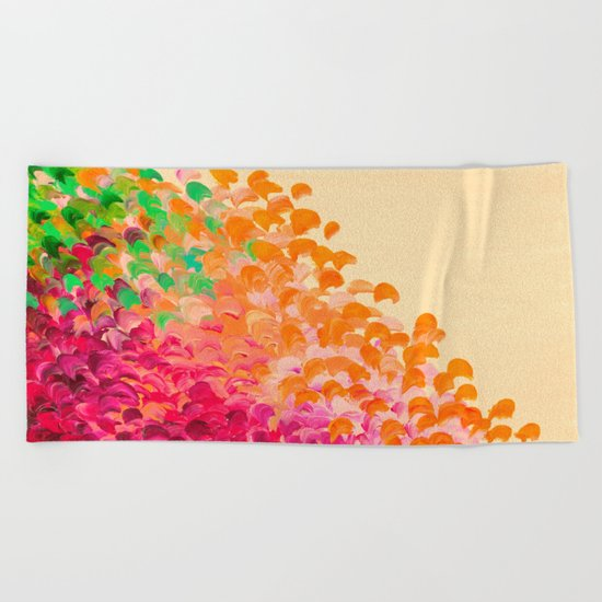CREATION IN COLOR Autumn Infusion - Colorful Abstract Acrylic Painting Fall Splash Ombre Ocean Waves Beach Towel