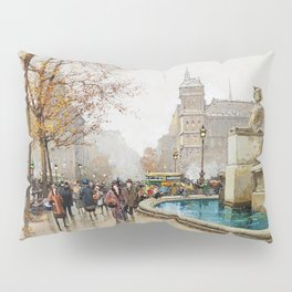 The fountain of Palm, Place du Chatelet by Eugene Galien-Laloue Pillow Sham