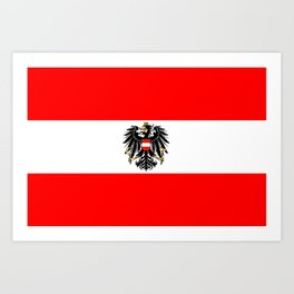 Austrian Flag and Coat of Arms Art Print