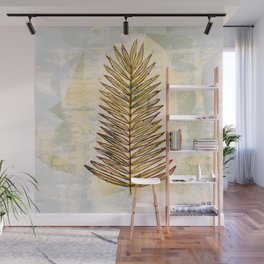 Palm Frond Leaf Abstract Geometric Polygon Watercolor Painting of Tropical Leave Wall Mural