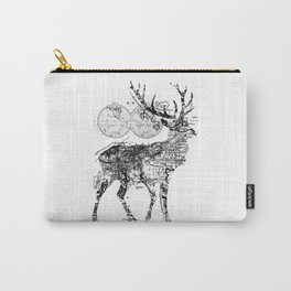 Deer Wanderlust Black and White Carry-All Pouch