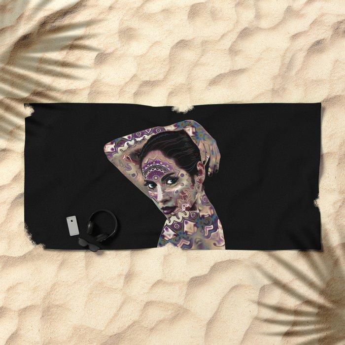 Portrait in the style of body art Beach Towel