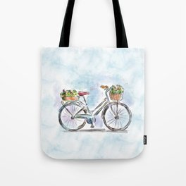Spring Bicycle Watercolor with Flowers Tote Bag