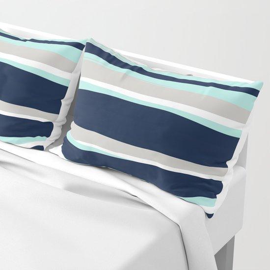 Ocean, Stripe Abstract Pattern, Navy, Aqua, Gray by meganmorrisart